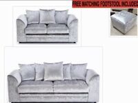 Brand new crushed velvet 3+2 seater sofa set with free matching footstool included 😍🔥✅