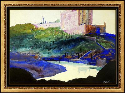John Whorf Large Watercolor Painting Original Landscape Signed Framed Artwork
