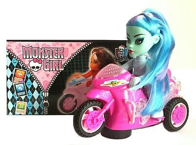 Childrens Girls Monster High Bump & Go Bike Toy with Light Sound Great Gift Idea