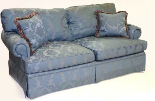 Southwood Custom Upholstered Sofa with Blue Damask Fabric