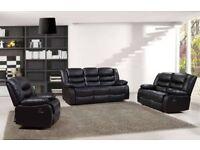 Brand New ROME 3+2,Corner Premium Bonded Leather Recliner Sofa Black,Brown SALE ON CASH OR FINANCE