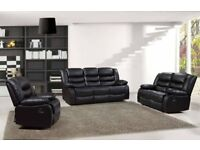 Brand New ROMANA 3+2,Corner Premium Bonded Leather Recliner Sofa Black,Brown SALE ON CASH OR FINANCE