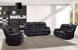 ROZY 3 AND 2 SEATER LEATHER RECLINER SOFA - CASH OR FINANCE OPTION AVAILABLE