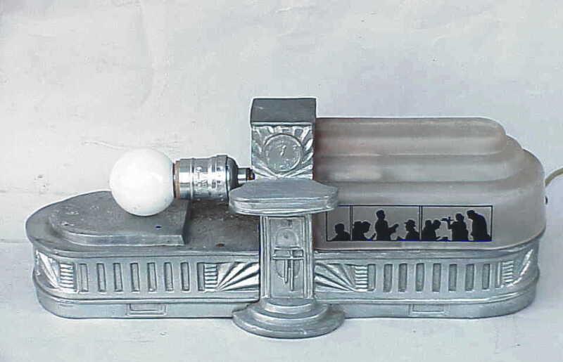 Antique Art Deco Food Diner Lamp.TV ? NICE But Missing 1 Shade