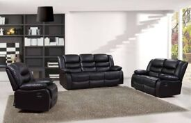 Brand New 3+2 or CORNER Premium Bonded leather Recliner ROMA Sofa BlackBrown SALE ON CASH OR FINANCE