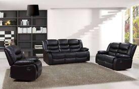 Brand New 3+2,CORNER ROSIE Premium Bonded Leather Recliner Sofa BLACK BROWN SALE ON CASH OR FINANCE
