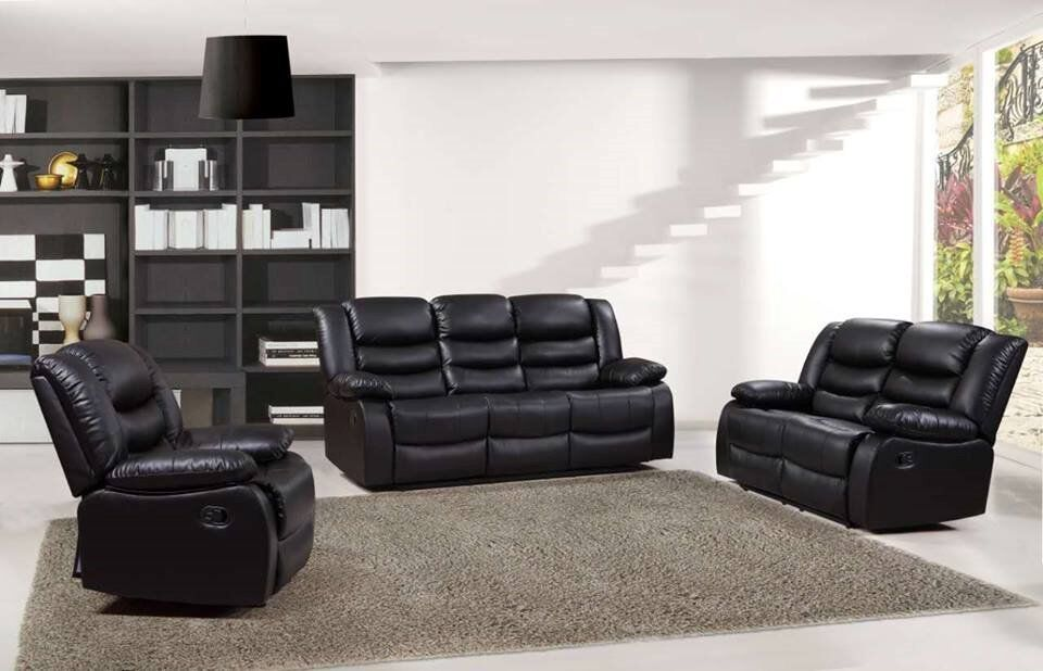 Brand New 3 2 Corner Rosie Premium Bonded Leather Recliner Sofa Black Brown