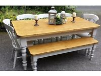 STUNNING SOLID 6FT PINE FARMHOUSE TABLE BENCH AND 5 CHAIRS CAN DELIVER