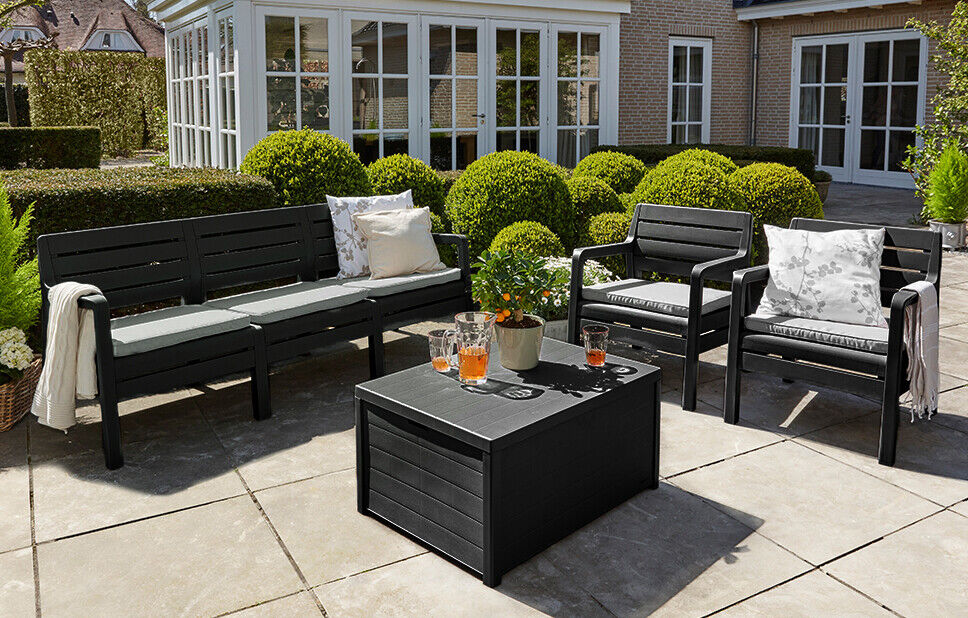 Garden Furniture - Rattan Garden Furniture Lounge Seating Set with Table in Black - RRP £599