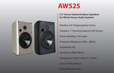 Proficient AW525 Indoor Outdoor Speakers New Pair  BLACK  Wo