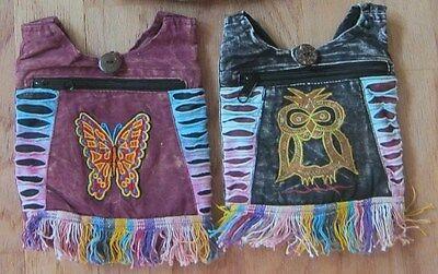 NWT NEPAL FABRIC MESSENGER HIPPIE CROSSBODY PURSE BAG HOBO CHOOSE OWL BUTTERFLY