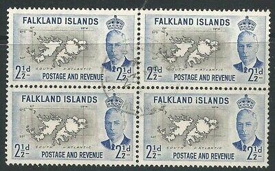 FALKLAND ISLANDS KGVI 1952 - Sg175 BLOCK OF 4 USED 2 1/2d