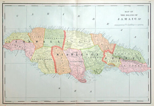 1890 JAMAICA MAP by H. WALKER, LARGE ANTIQUE DETAILED MAP