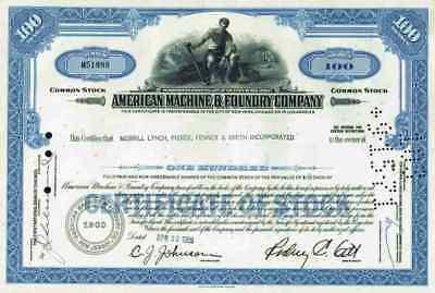 American Machine Foundry Company 1969 New York Los Angeles Merrill  Lynch Pierce