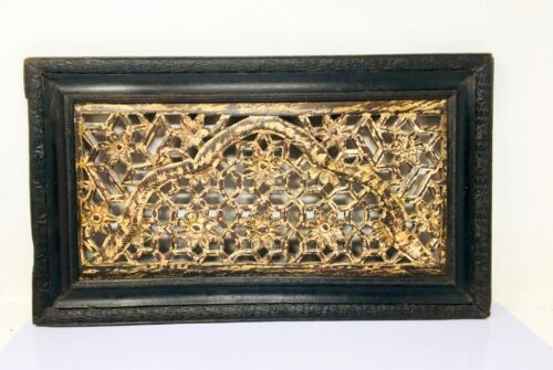 Ancient Old Wooden Hand Carved Floral Jali Cut Wall Decorative Panel Framed