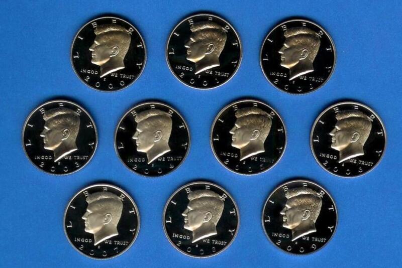 2000 - 2009 90% Silver Proof Kennedy Half Dollar Set of 10