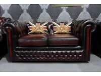 Refurbished Vintage Chesterfield 2 Seater Sofa in Oxblood Red Leather - Uk Delivery