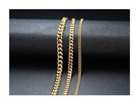 Uni-Sex Punk Stainless Steel Necklace Curb Cuban Link Chain Gold 3mm, 5mm, 7mm