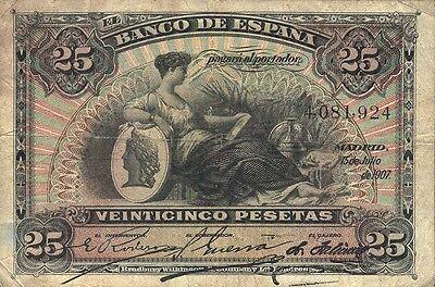 Spanien / Spain 25 Pesetas 1907 Pick 62 (3-)