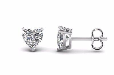 3/4 Ct Diamond Stud Earrings Heart shape Diamond Womens Earrings14K White Gold