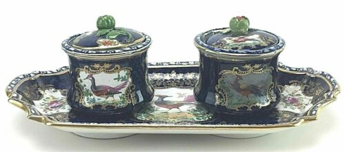 Antique Booths England Chelsea Birds Ink Wells Tray Floral Cobalt Blue