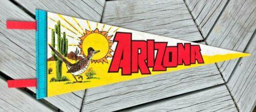 "Vintage 25"" Arizona Pennant Road Runner & Cactus Bright Color Rare"