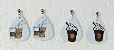 Cappuccino Jewelry - Starbucks Custom Handmade Custom Coffee Latte Cappuccino Stud Earrings U-Pic