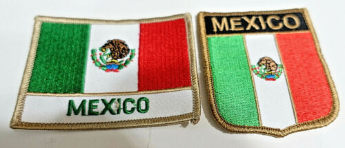 (2) New! MEXICO EMBROIDERED IRON ON NATIONAL FLAG SHIELD & RECTANGULAR PATCH