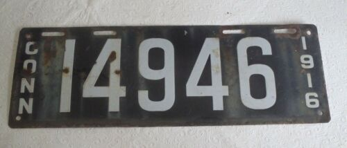 1916 Connecticut license plate porcelain 14946