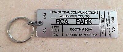 RCA Global Communications 1983 RCA PARK Anaheim CA Metal Keychain ID Card RARE