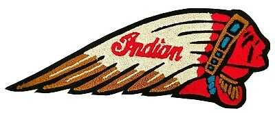 """RARE NEW INDIAN MOTORCYCLE Script Chief w/ Headdress CHENILLE PATCH VTG 13"""" 2XL"""