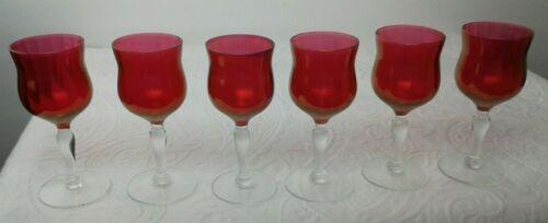 Set of 6 Vintage Victorian Cranberry CORDIAL Wine Glass Stemware Hand Blown