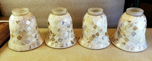 """Set 4 Vintage Abalone Mother of Pearl Tiffany Style Light Sconce Shade 5"""" Tall"""