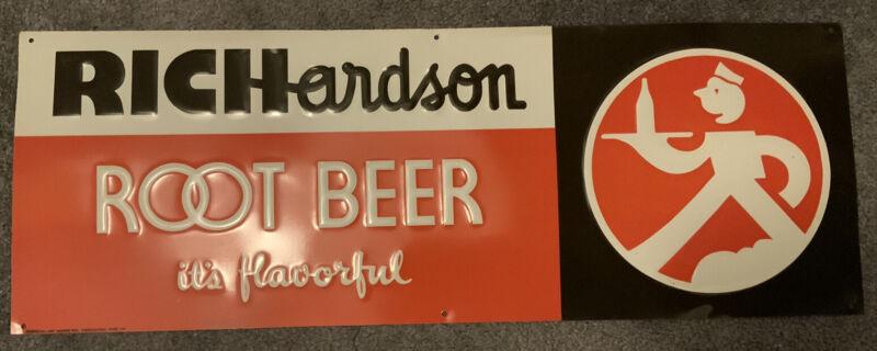 "Richardson Root Beer Metal / Porcelain Advertising Sign 24"" X 8 3/4"""