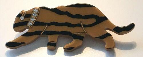 Vintage Acrylic? Tiger Figural Brooch w Rhinestones