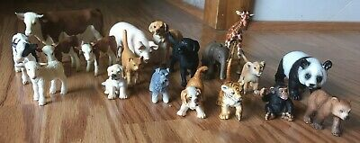 Lot of 19 Schleich Animals Cows Dogs Elephant Panda