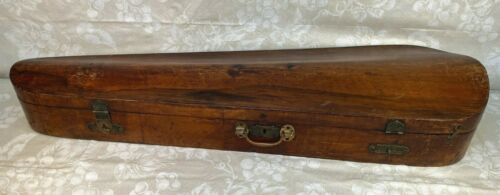 Antique Violin Case Coffin Style Old Brass Hardware Possibly French Origin