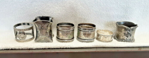 Lot of 5 Antique Silverplate Napkin Rings & 1 Unmarked Sterling? Napkin Ring
