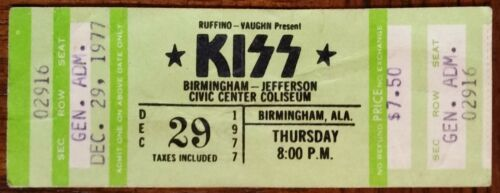 KISS (Band)-Gene Simmons-1977 RARE Unused Concert Ticket (Birmingham-JCCC)