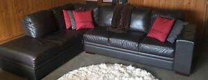Leather lounge- L shaped brown Berwick Casey Area Preview