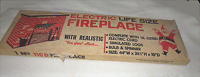 NOS VINTAGE 1960'S UNUSED TOYMASTER CHRISTMAS ELECTRIC CARDBOARD FIREPLACE #1100 - Cardboard Fireplace