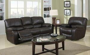 3PC Reclining Sofa set in a chocolate Air Leather Regular $3899 Clearnace $1499