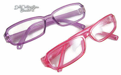 "DEAL! 2 PAIR Eyeglasses 1 Purple & 1 Pink For 18"" American Girl Doll Accessories"