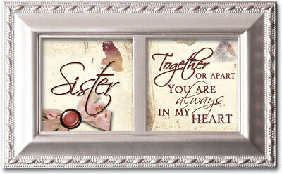 Sister Ribbon Woodgrain Petite Music Box Plays That's What Friends Are For