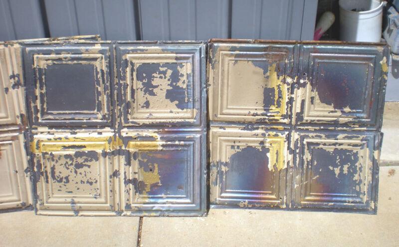 8 Iridescent Antique Carnival Ceiling Tin Tile Simple Elegant Frame Canvas Chic