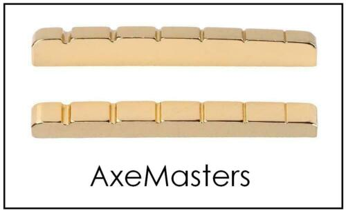 """AxeMasters 1 5/8"""" / 41mm Slotted Gold BRASS NUT for Fender Guitar Strat Tele"""