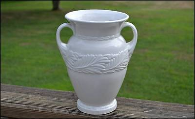 Abingdon White Pottery Vase 117 Two Handled Leaf Motif 10""
