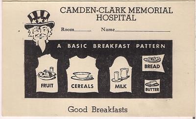 Vintage Sept 21 1947 Camden-Clark Memorial Hospital Breakfast Order Menu Card