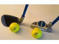 Dunlop HDD Junior Flex 9 Iron & Putter with Tube of Yellow Donnay Practice Balls - Suit Child