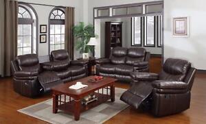 $1699 - MADNESS SALE  Leatheraire Rocker Recliner Dropdown Sofa ,Love-Seat N' Rocker Chair